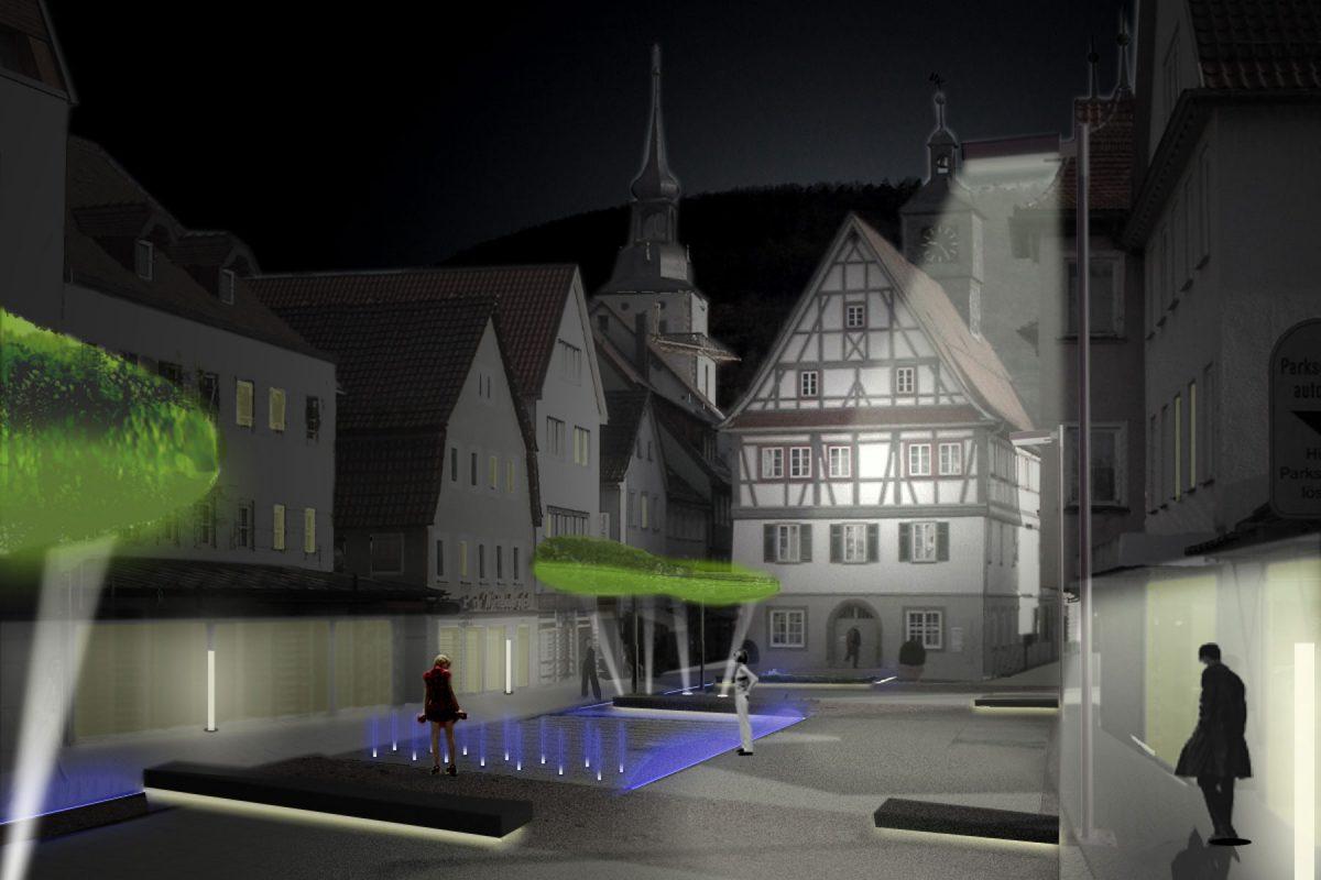 Hauptstrasse Kuenzelsau Ansicht Nacht